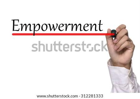 Hand writing empowerment over white background - stock photo