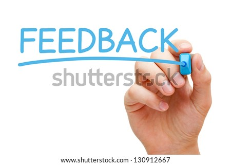 Hand writing Feedback with blue marker on transparent wipe board. - stock photo
