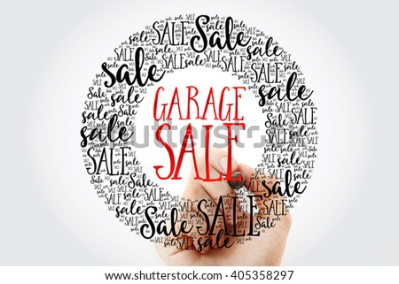 Hand writing GARAGE SALE circle word cloud, business concept background - stock photo