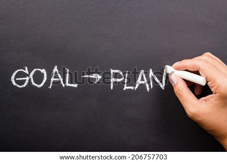 Hand writing Goal and Plan word proceed with chalk - stock photo