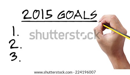 Hand writing 2015 Goals - stock photo