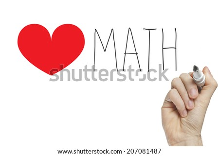 Hand writing heart math on a white board - stock photo
