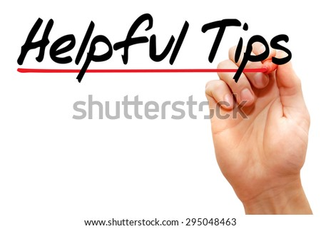 Hand writing Helpful Tips with marker, business concept - stock photo