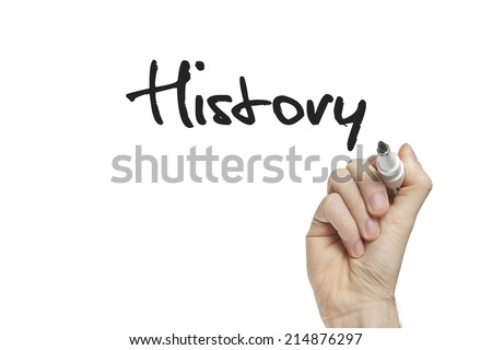 Hand writing history on a white board - stock photo