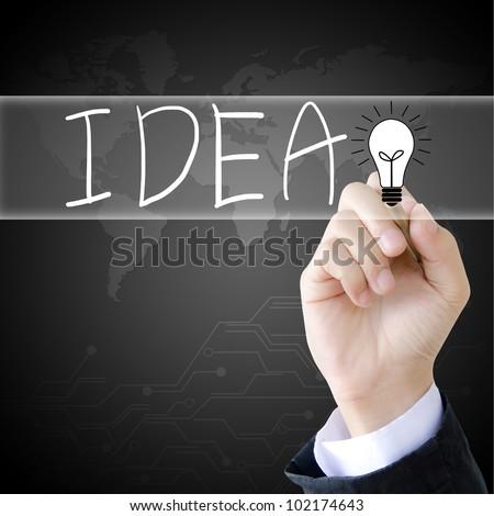 hand writing idea word - stock photo