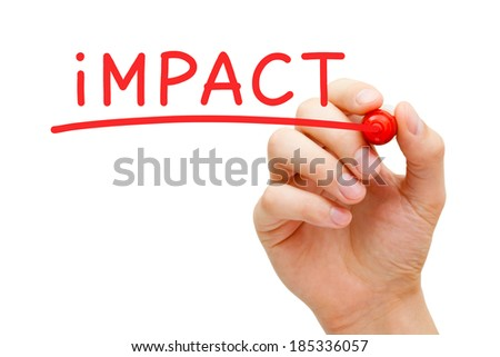 Hand writing Impact with red marker on transparent wipe board. - stock photo