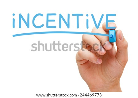 Hand writing Incentive with blue marker on transparent wipe board isolated on white.  - stock photo