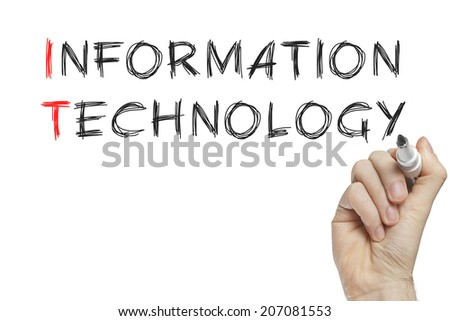Hand writing information technology on a white board - stock photo