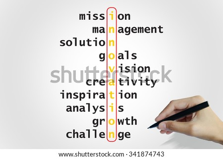 hand writing innovation puzzle words crossword , business idea , business concept - stock photo