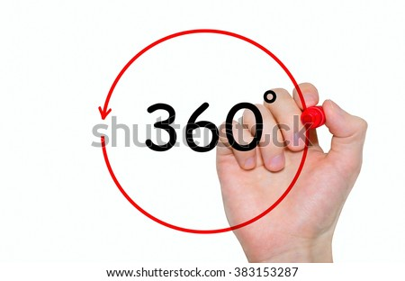 """Hand writing inscription """"360 degrees"""" with marker, concept - stock photo"""