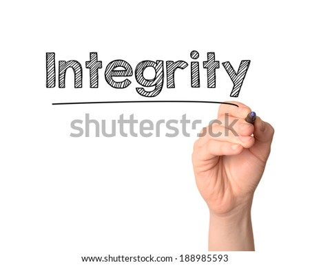 Hand writing Integrity with black marker on transparent wipe board.  - stock photo