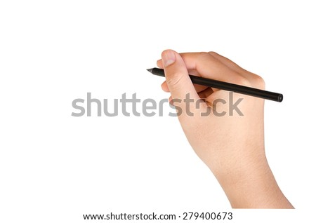 Hand writing isolate on white with clipping path - stock photo