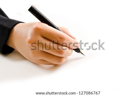 Hand writing isolated on the white background. - stock photo