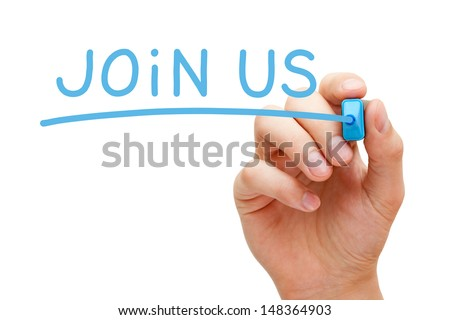 Hand writing Join Us with blue marker on transparent wipe board. - stock photo