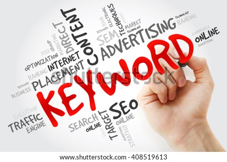Hand writing KEYWORD word cloud, business concept - stock photo