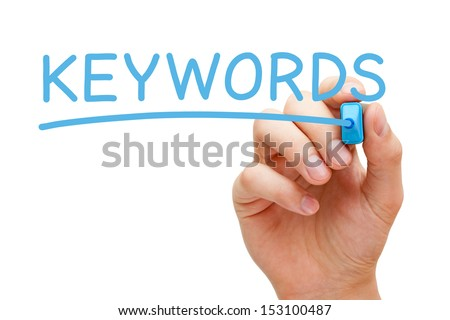 Hand writing Keywords with blue marker on transparent wipe board. - stock photo