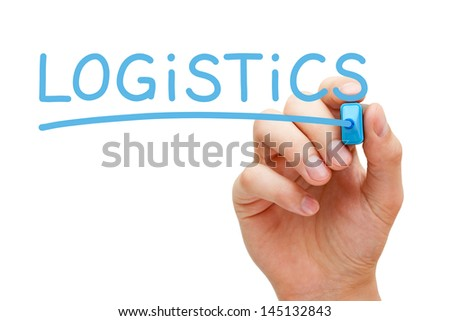 Hand writing Logistics with blue marker on transparent wipe board. - stock photo