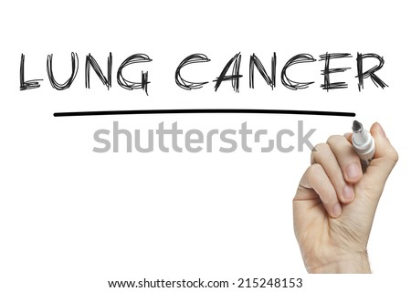 Hand writing lung cancer on a white board - stock photo