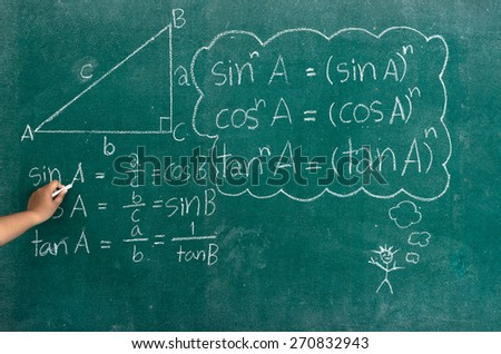 Hand writing mathematics formulas on a blackboard - stock photo