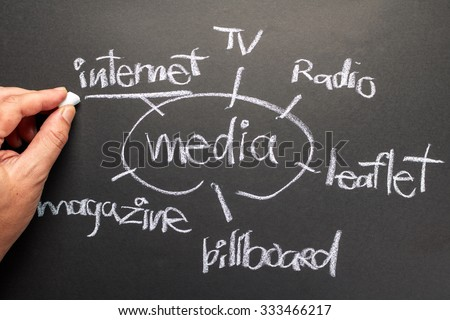 Hand writing Media Channels on chalkboard - stock photo