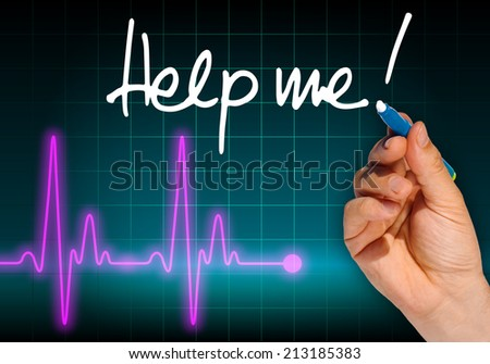 Hand writing message HELP ME! with heart rate monitor in the background expressing health hazard - stock photo