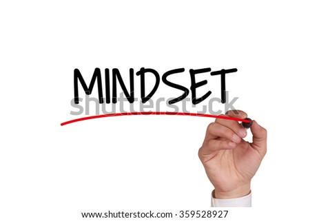 Hand writing MINDSET with Black Marker on Transparent Wipe Board - stock photo
