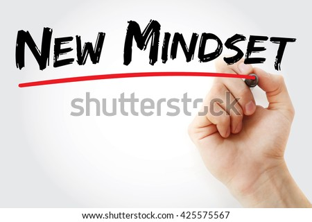 Hand writing New Mindset with red marker, business concept - stock photo