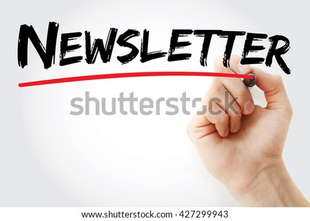 Hand writing Newsletter with marker, business concept - stock photo
