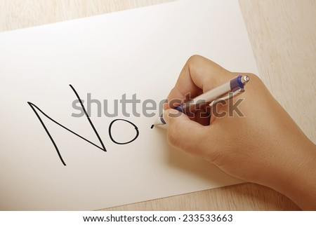Hand writing No on paper - stock photo