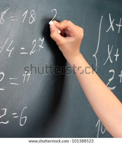 Hand writing on blackboard in class room - stock photo