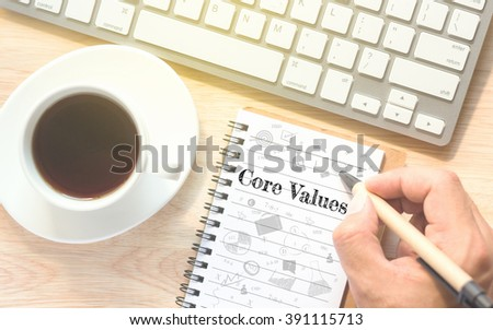 Hand writing on book message Core Values. A keyboard and a glass coffee table.Vintage tone. - stock photo