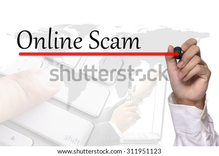 Hand writing online scam workshop over white - stock photo