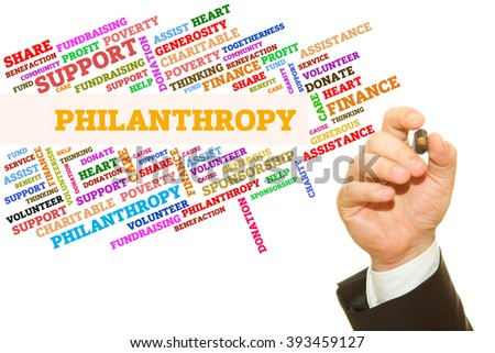 Hand writing Philanthropy word on a transparent wipe board. Word collage concept. - stock photo