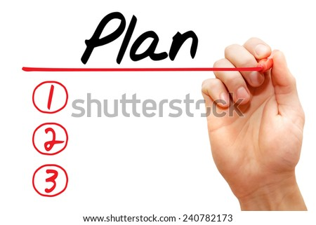 Hand writing Plan List with red marker, business concept - stock photo