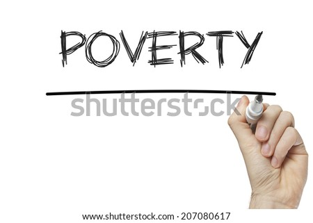 Hand writing poverty on a white board - stock photo