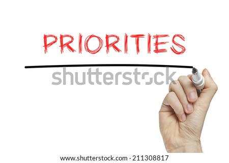Hand writing priorities on a white board - stock photo