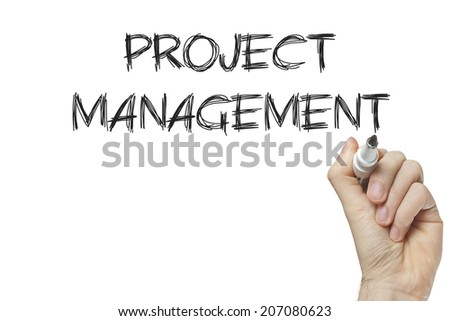 Hand writing project management on a white board - stock photo