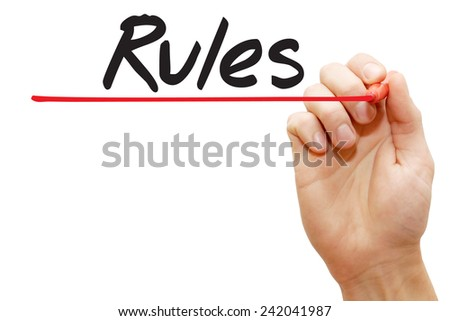 Hand writing Rules with red marker, business concept - stock photo
