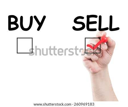 Hand writing sell buy check box on transparent wipe board with white background and copy space - stock photo