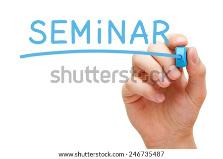Hand writing Seminar with blue marker on transparent wipe board isolated on white. - stock photo
