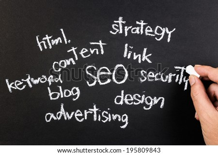 Hand writing SEO for business concept with chalk - stock photo