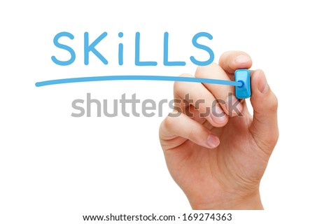 Hand writing Skills with blue marker on transparent wipe board. - stock photo