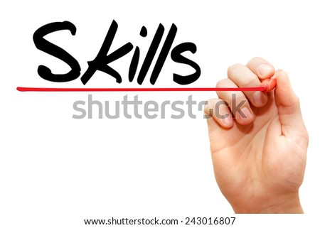 Hand writing Skills with marker, business concept - stock photo