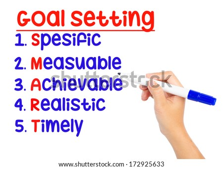 hand writing smart goal or objective setting - specific - measur - stock photo