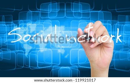 hand writing social network - stock photo