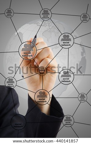 Hand Writing social network Diagram. - stock photo
