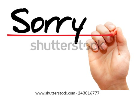 Hand writing Sorry with marker, concept - stock photo