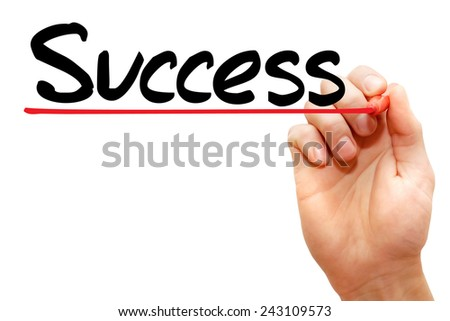 Hand writing Success with marker, business concept - stock photo