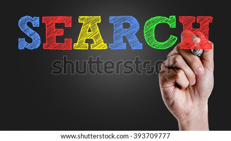Hand writing the text: Search - stock photo