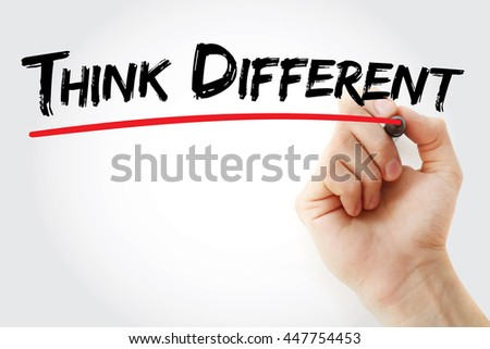 Hand writing Think Different with marker, concept background - stock photo